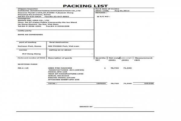Mẫu packing list chuẩn